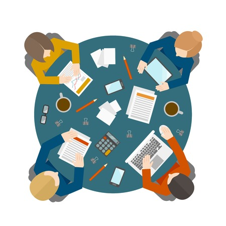round icons: Flat style office workers business management meeting and brainstorming on the round table in top view illustration