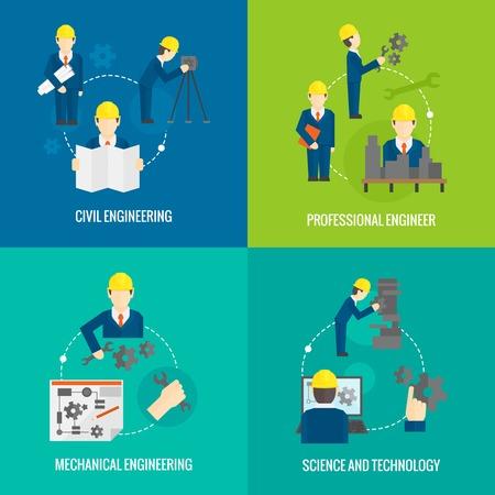 ingeniero civil: Profesionales de ingeniería mecánica concepto ciencia iconos de negocios establecidos planas Civiles de fabricación trabajador gestión para el diseño de infografías elementos web ilustración Vectores