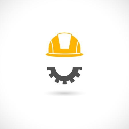 Helmet in orange color of engineer and beard in cog wheel style illustration Vector