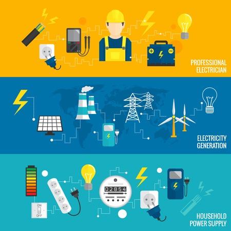redes electricas: Conjunto de banners banners línea de transformadores de electricidad la generación de energía en el estilo plano icónico