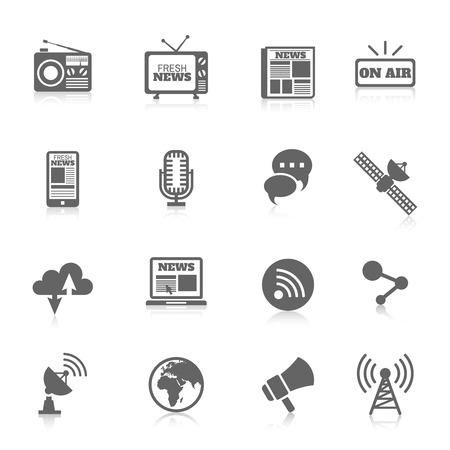 Set of media news tv global technology icons concept of newspaper wireless radio communication illustration Illustration