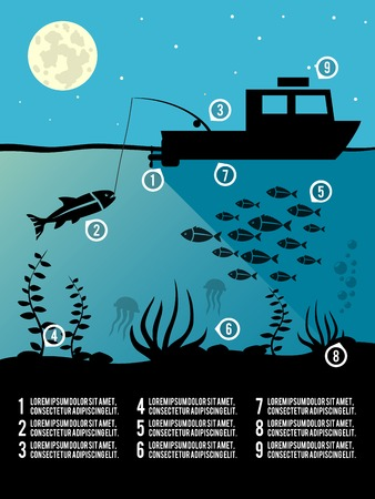 sea bass: Infographic template of night  fishing black colors icons for poster or flyer illustration Illustration