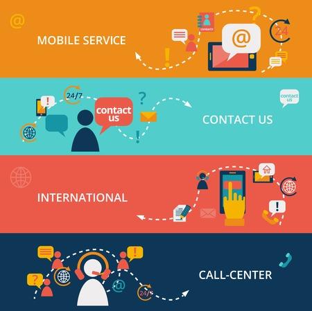contact book: Set de Cont�ctenos centro de llamadas de chat de negocios pancartas de comunicaci�n ilustraci�n