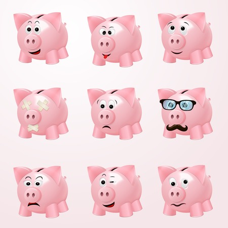 Pink piggy bank emoticons with cheerful curious hipster happy emotion faces isolated illustration