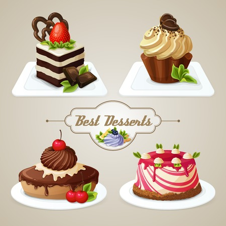 vanilla pudding: Decorative sweets desserts set with shortcrust sponge cake and pudding isolated illustration.