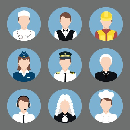 Avatar business users flat icons set of clerk chef construction worker priest isolated illustration Vector
