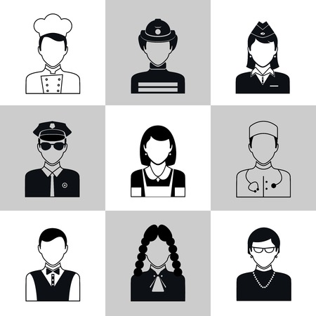 Avatar social network pictograms set of firefighter policeman judge nurse isolated illustration Vector