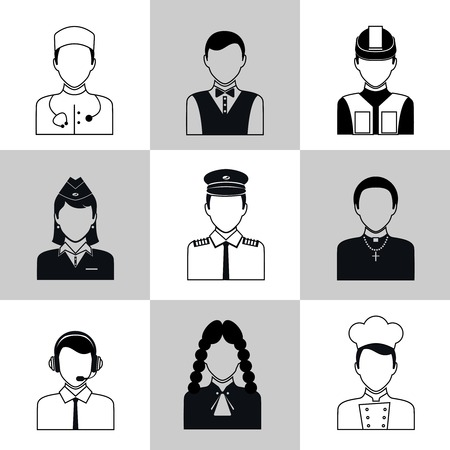 Avatar social network pictograms set of lawyer cook engineer doctor pilot isolated illustration Vector