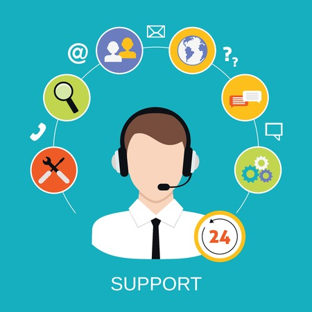 requesting: 24h all the time customer support center via phone mail operator service icons concept illustration