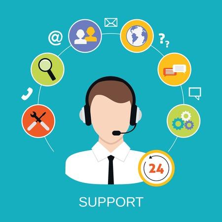 apoyo social: Abierta 24 horas todo el centro de atenci�n al cliente de tiempo a trav�s del tel�fono operador electr�nico iconos de servicio concepto de ilustraci�n