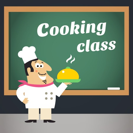 Healthy delicious food cooking and planning skills improvement class with professional chef advertising poster template illustration Vector