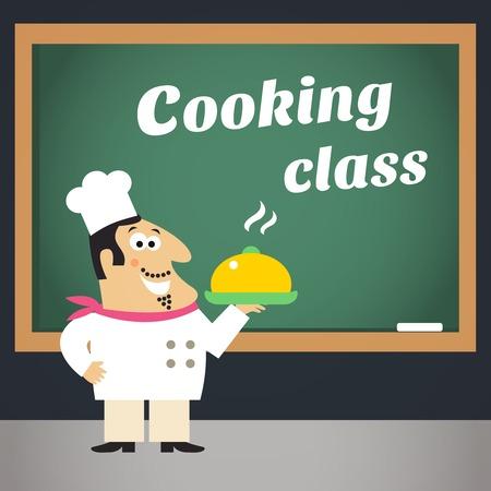La nourriture délicieuse classe sain de l'amélioration des compétences de cuisson et de planification de la publicité de chef professionnel modèle d'affiche illustration