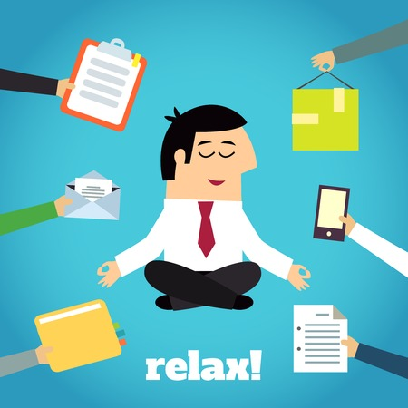 cross legged: Businessman practicing yoga cross legged lotus asana relaxation technique detachment from documents pressure cartoon character illustration