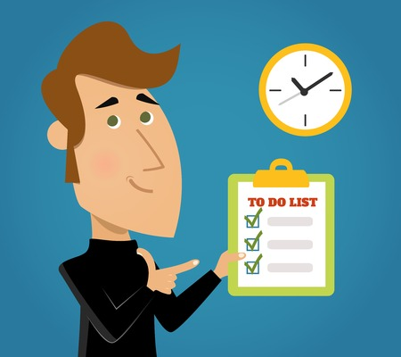 completed: List to do important tasks priority reminder done background with check boxes schedule abstract illustration Illustration