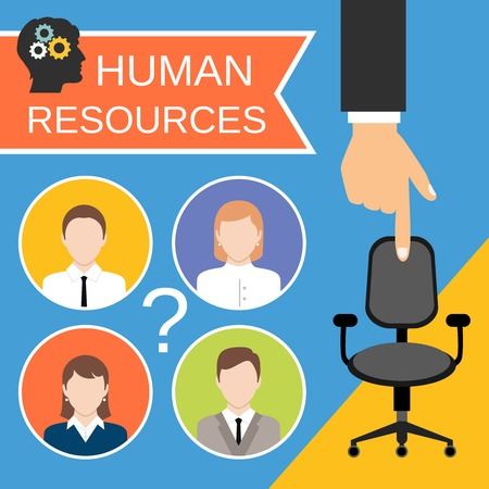 negotiation: Planificaci�n de recursos humanos reclutamiento concepto de negocio de trabajo con silla de oficina resumen ilustraci�n