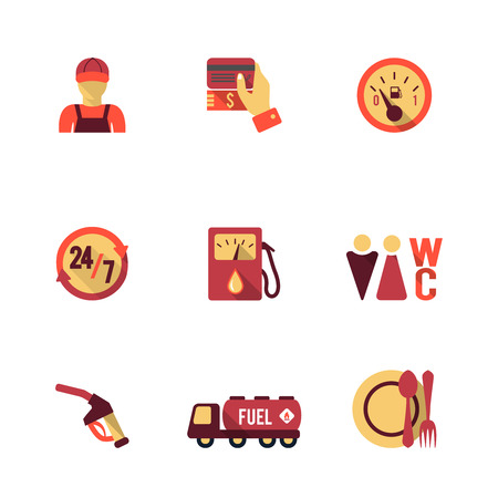 Gas petrol fuel pay at the pump 24h availability station icons set flat isolated abstract illustration Illustration