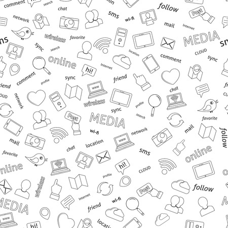 network and media: Seamless  social network media icons pattern background illustration