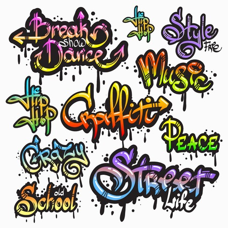Expressive collection of graffiti urban youth art individual words digital spray paint creator grunge isolated illustration Illustration