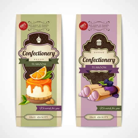 Decorative sweets vertical retro banners collection with crepes and orange mousse isolated illustration