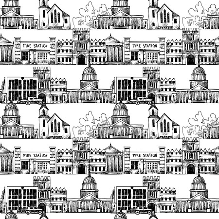 Seamless background with government buildings church museum university in line illustration Vector