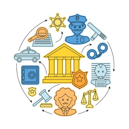 jury: Law and justice business concept with gavel prosecutor judgment jury icons illustration