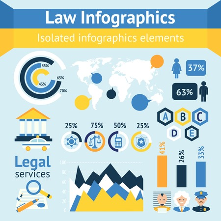 Law and justice business infographics layout design template with police judge court lawyer icons illustration Vector