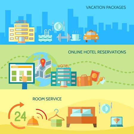 Concepto banners Travel servicio de taxi el turismo de negocios iconos planos establecidos del hotel, el personal del restaurante para el diseño de infografías elementos web ilustración Vectores