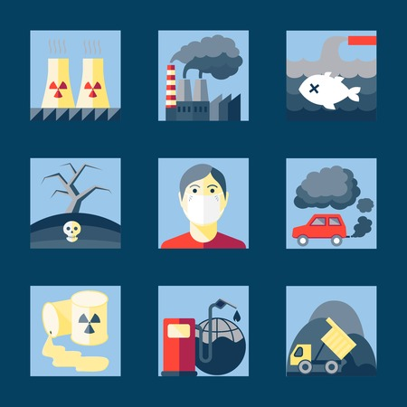 Set of pollution damage environment radioactive icons in flat style on squares illustration Vector