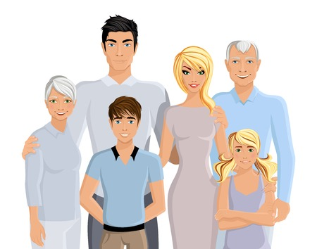 a big family: Happy family parents grandparents and kids portrait on white background illustration. Illustration