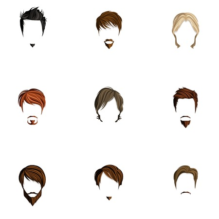 Handsome attractive man male head colored silhouettes avatars set with haircut styles isolated illustration Vector