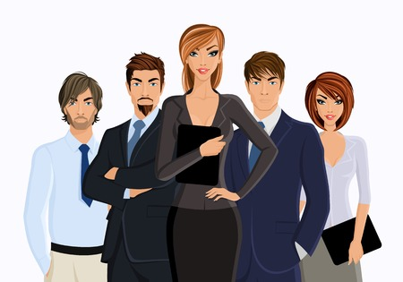 Group of business people business woman with team isolated on white illustration