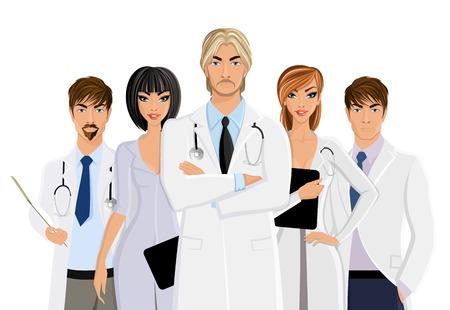 equipe medica: Grave medico di sesso maschile con la squadra di personale medico isolato su sfondo bianco illustrazione