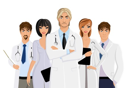 clinical staff: Serious male doctor with medical staff team isolated on white background illustration