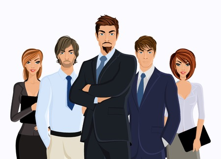 Group of people businessman with business team isolated on white illustration
