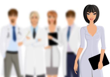 equipe medica: Medico femminile sorridente con tablet pc e il team di personale medico isolato su sfondo bianco illustrazione