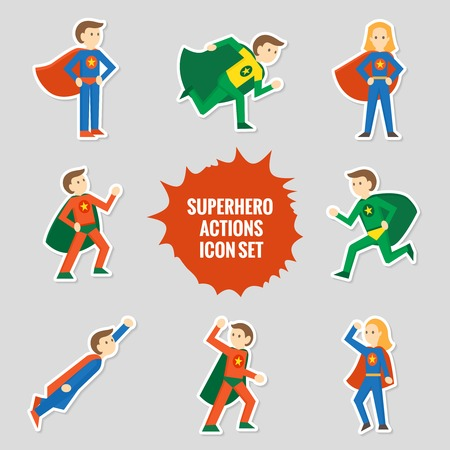 kids costume: Set of comic character superheroes full body in sticker style illustration