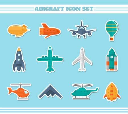 avion de chasse: Hélicoptère aviation militaire avion autocollants icons set illustration isolé