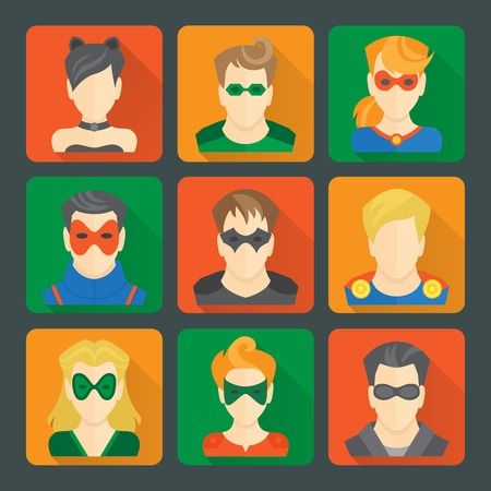 Set of comic character superheroes avatar icons in flat style with long shadows on squares illustration Vector