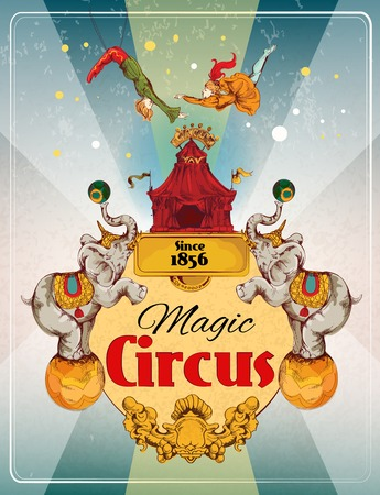 Magic traveling circus tent fantastic show announcement vintage poster with elephants and aerialist acrobat performance illustration