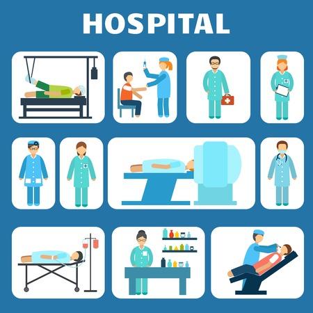 Medical hospital ambulance healthcare services flat pictograms set isolated illustration