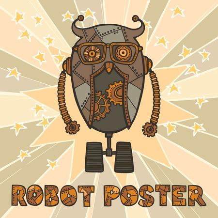 retro robot: Cogwheel retro robot hipster with glasses on stars background design poster illustration