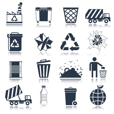 Garbage rubbish green cleaning hygienic symbols website black icons set isolated illustration Vector