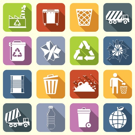 Garbage rubbish green recycling symbols flat interface icons set isolated illustration