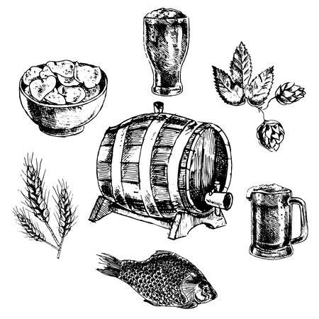 casse-cro�te: Bi�re collation Verre d�coratif barre de pinte avec croustilles icons set doodle croquis abstrait illustration isol�