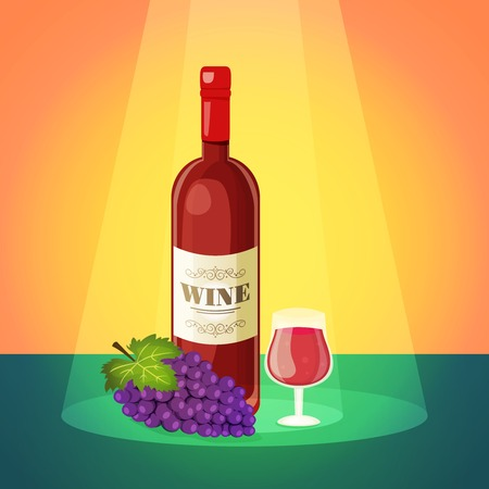 wine and dine: Decorative light dry red wine restaurant bar advertisement poster with wineglass and grapes cluster abstract illustration