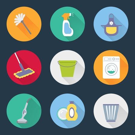 cocina limpieza: Servicio de limpieza productos de limpieza de la cocina Conjunto de iconos de m�quina lavadora de ropa canasta plumero cepillo jab�n aislados ilustraci�n