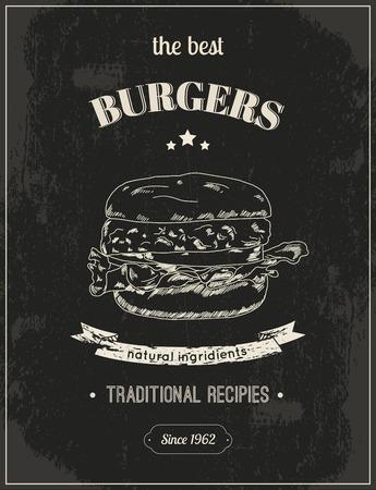 american food: Hamburger vintage retro sketch style poster on chalkboard for restaurant illustration Illustration