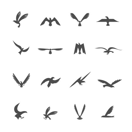 Set of eagles heraldic silhouette wings and bird icons set illustration Vector