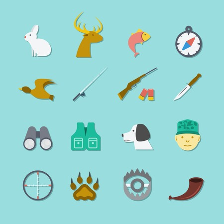 wildlife shooting: Set of hunting animal wild life leisure icons with reflection effect in flat color style illustration