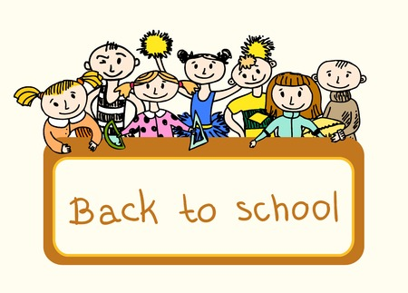 Decorative back to school emblem print banner with children playing in sport games sketch doodle illustration Vector